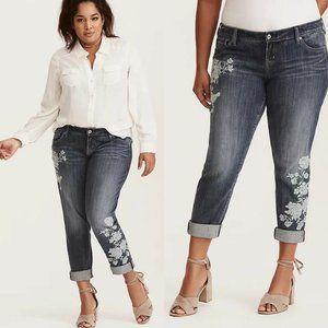 Torrid Floral Boyfriend Jeans Size 14